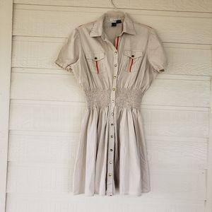 Chesley stretch khaki dress elastic waistb…